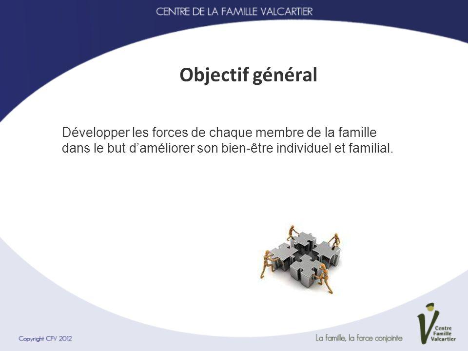 Objectif général Développer les forces de chaque membre de la famille dans le but daméliorer son bien-être individuel et familial.
