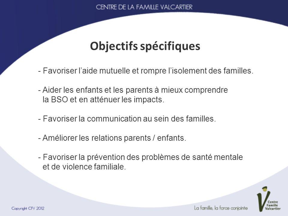 Objectifs spécifiques - Favoriser laide mutuelle et rompre lisolement des familles. - Aider les enfants et les parents à mieux comprendre la BSO et en