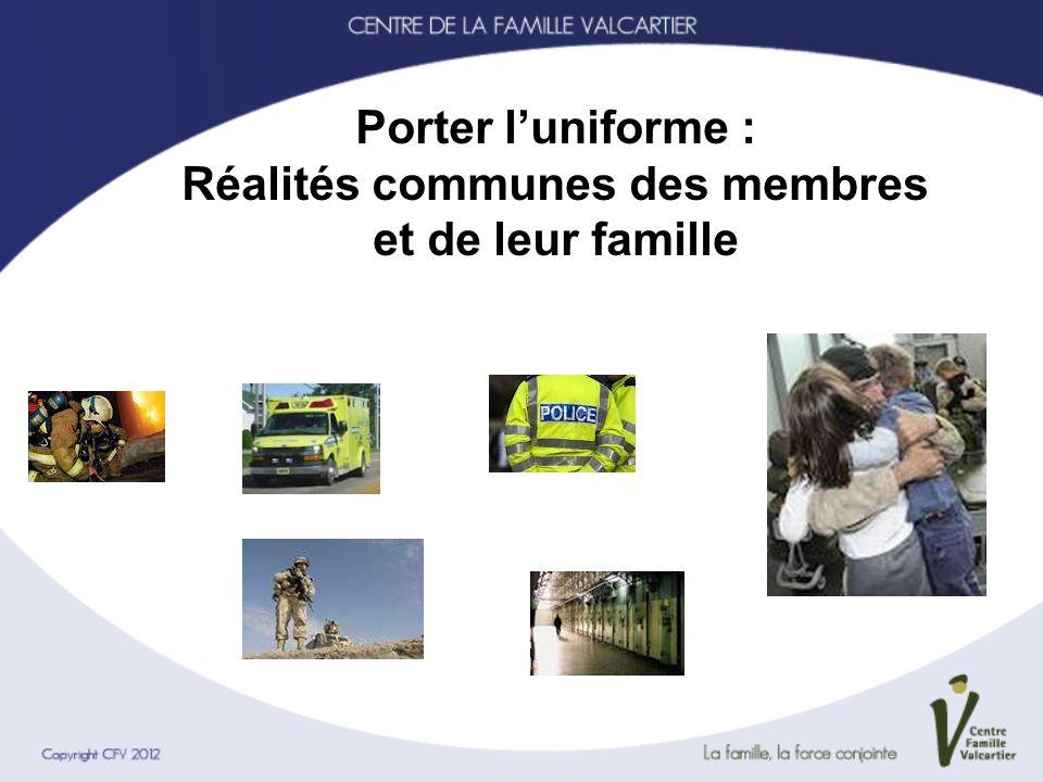 Réalités professionnelles Caractéristiques personnelles Culture de luniforme Réalités opérationnelles Opérations à risques BSO, ESPT, blessures physiques, deuil