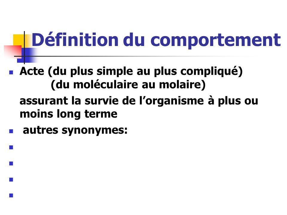 Définition du comportement Acte (du plus simple au plus compliqué) (du moléculaire au molaire) assurant la survie de lorganisme à plus ou moins long t