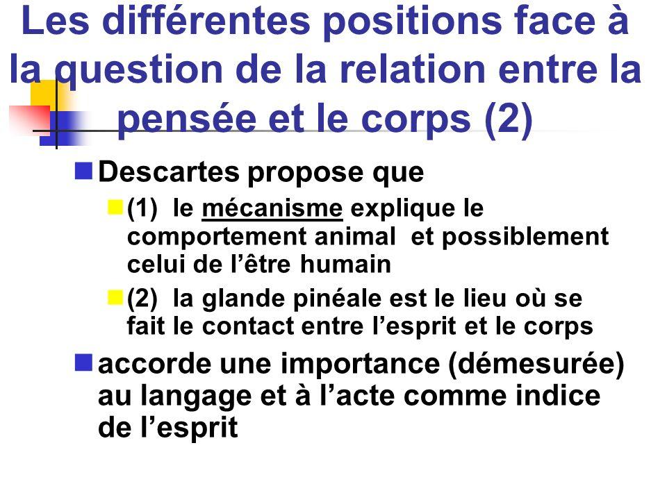 Les différentes positions face à la question de la relation entre la pensée et le corps (2) Descartes propose que (1) le mécanisme explique le comport