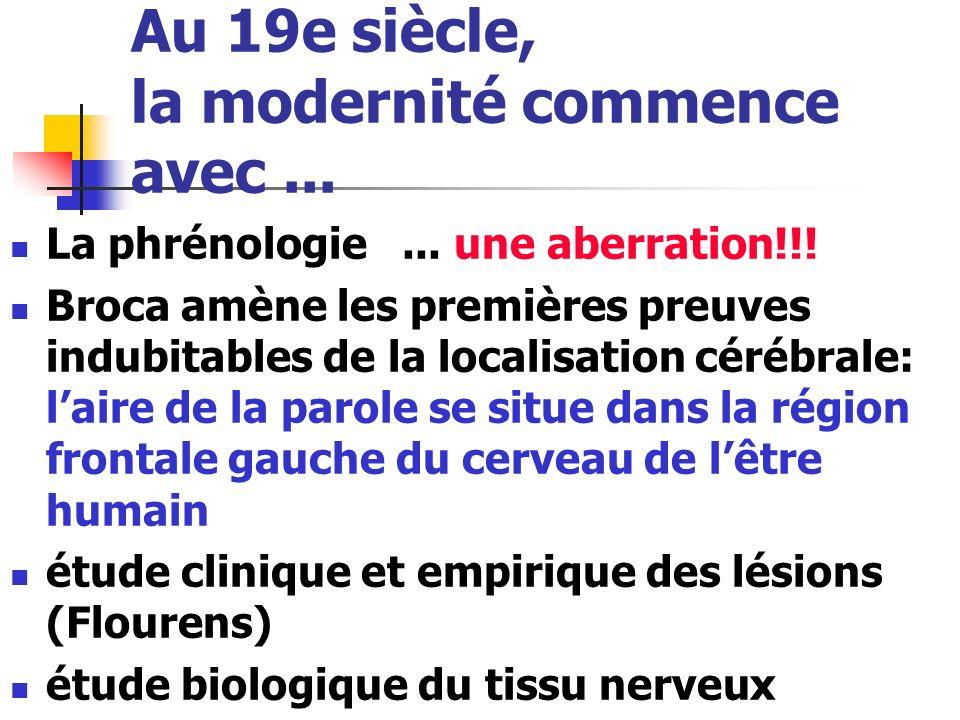 Au 19e siècle, la modernité commence avec... La phrénologie... une aberration!!! Broca amène les premières preuves indubitables de la localisation cér