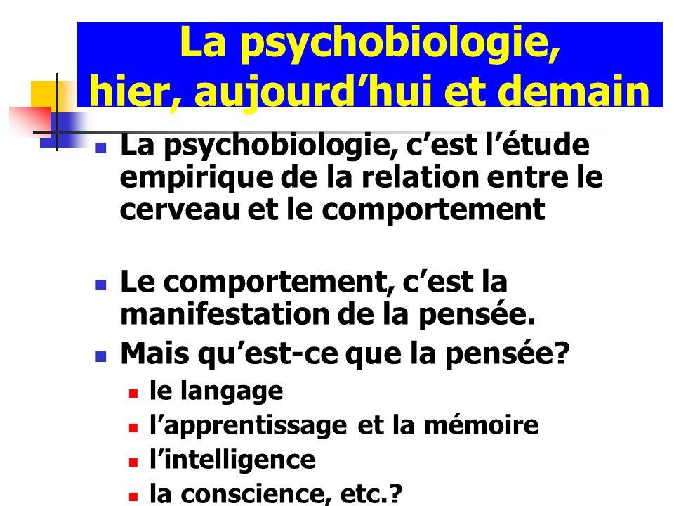 La psychobiologie, hier, aujourdhui et demain La psychobiologie, cest létude empirique de la relation entre le cerveau et le comportement Le comportem