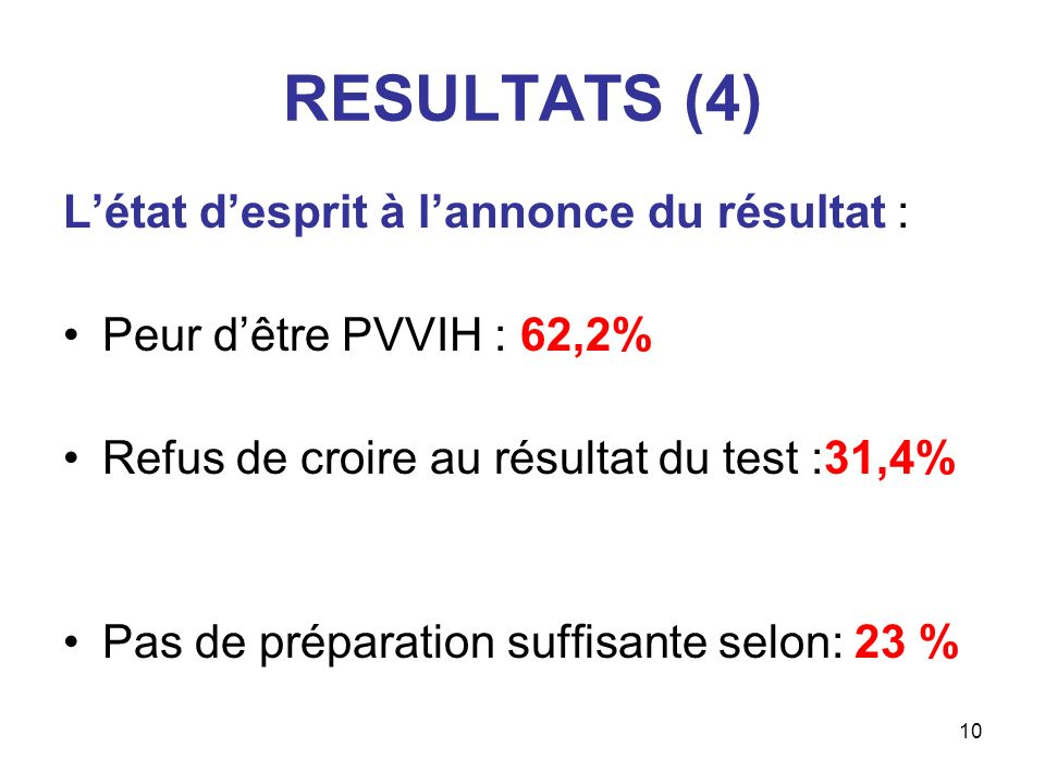 10 RESULTATS (4) Létat desprit à lannonce du résultat : Peur dêtre PVVIH : 62,2% Refus de croire au résultat du test :31,4% Pas de préparation suffisa
