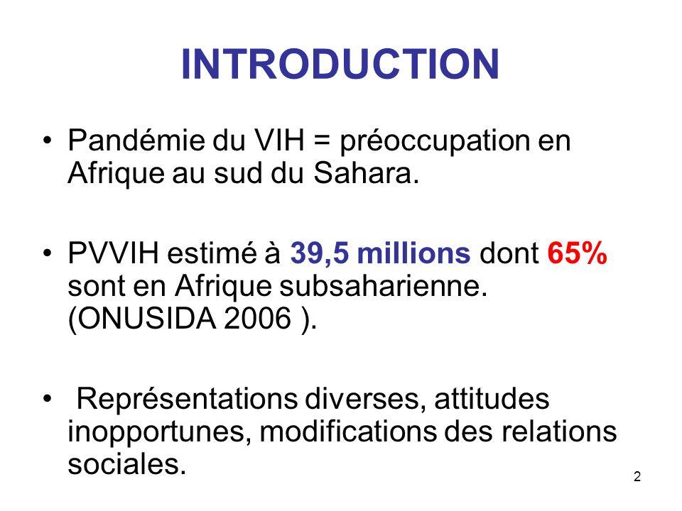 2 INTRODUCTION Pandémie du VIH = préoccupation en Afrique au sud du Sahara. PVVIH estimé à 39,5 millions dont 65% sont en Afrique subsaharienne. (ONUS