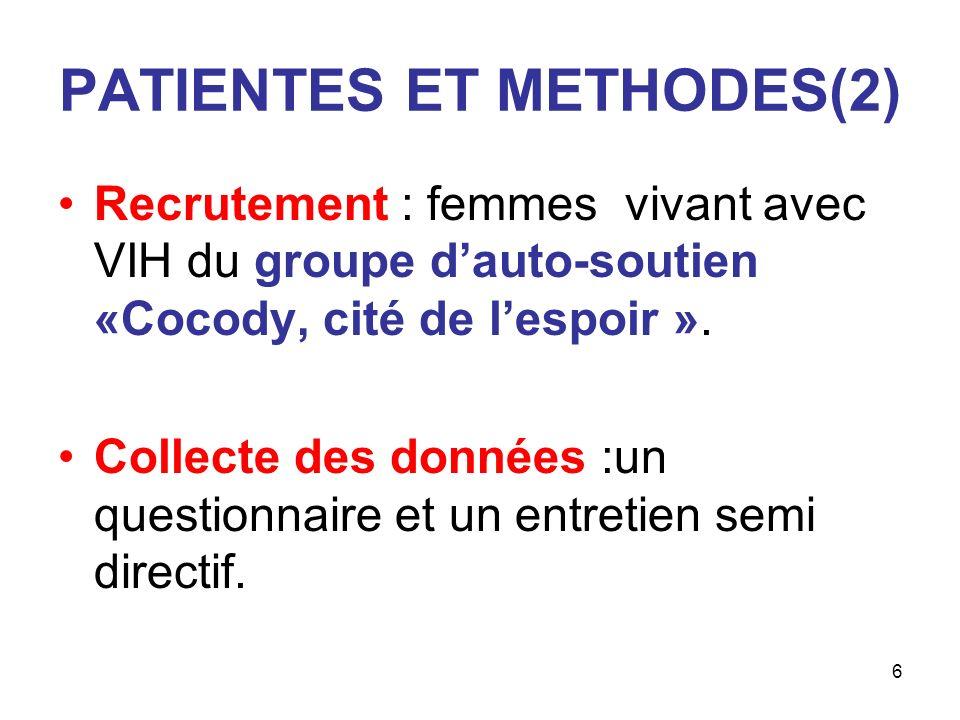 6 PATIENTES ET METHODES(2) Recrutement : femmes vivant avec VIH du groupe dauto-soutien «Cocody, cité de lespoir ». Collecte des données :un questionn