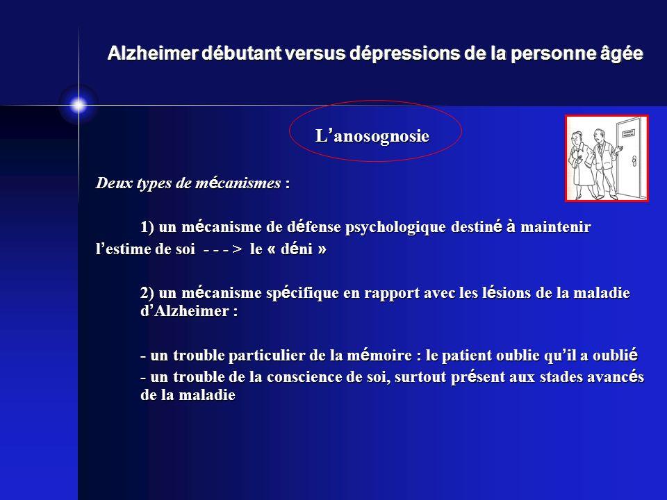 Alzheimer débutant versus dépressions de la personne âgée L anosognosie Deux types de m é canismes : 1) un m é canisme de d é fense psychologique dest