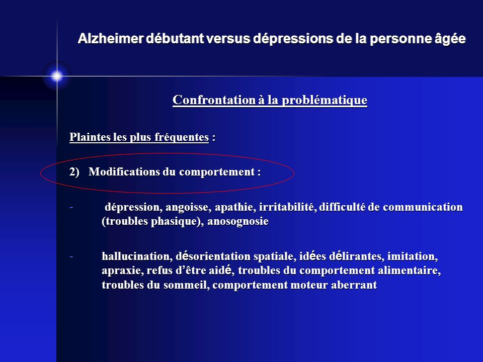 Alzheimer débutant versus dépressions de la personne âgée Confrontation à la problématique Plaintes les plus fréquentes : 2) Modifications du comportement : - dépression, angoisse, apathie, irritabilité, difficulté de communication (troubles phasique), anosognosie -hallucination, d é sorientation spatiale, id é es d é lirantes, imitation, apraxie, refus d être aid é, troubles du comportement alimentaire, troubles du sommeil, comportement moteur aberrant