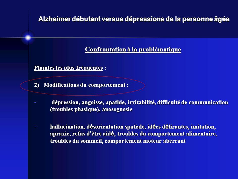 Alzheimer débutant versus dépressions de la personne âgée Confrontation à la problématique Plaintes les plus fréquentes : 2) Modifications du comporte