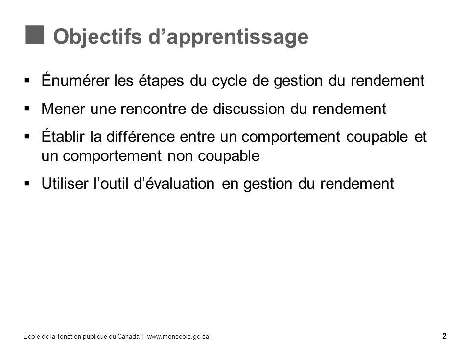 École de la fonction publique du Canada www.monecole.gc.ca 2 Objectifs dapprentissage Énumérer les étapes du cycle de gestion du rendement Mener une r