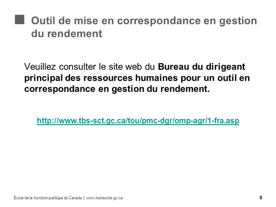 École de la fonction publique du Canada www.monecole.gc.ca 8 Outil de mise en correspondance en gestion du rendement Veuillez consulter le site web du