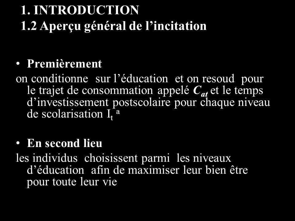 1. INTRODUCTION 1.2 Aperçu général de lincitation Premièrement on conditionne sur léducation et on resoud pour le trajet de consommation appelé C at e