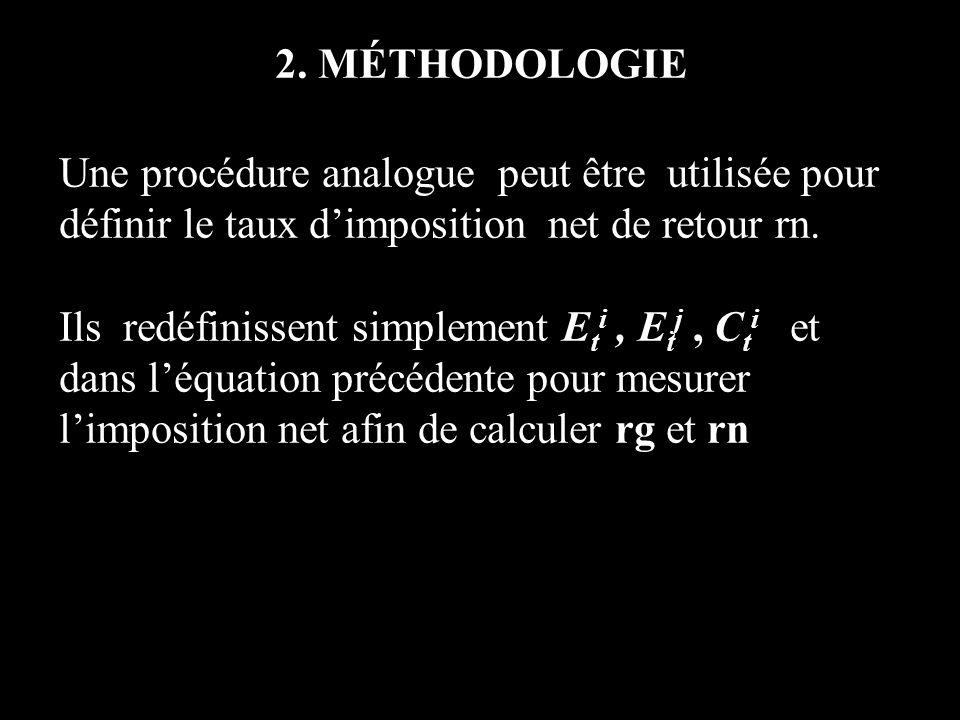 2. MÉTHODOLOGIE Une procédure analogue peut être utilisée pour définir le taux dimposition net de retour rn. Ils redéfinissent simplement E t i, E t j