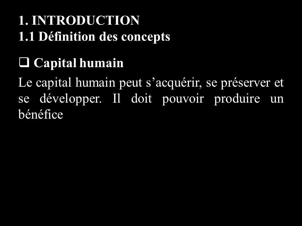 1. INTRODUCTION 1.1 Définition des concepts Capital humain Le capital humain peut sacquérir, se préserver et se développer. Il doit pouvoir produire u