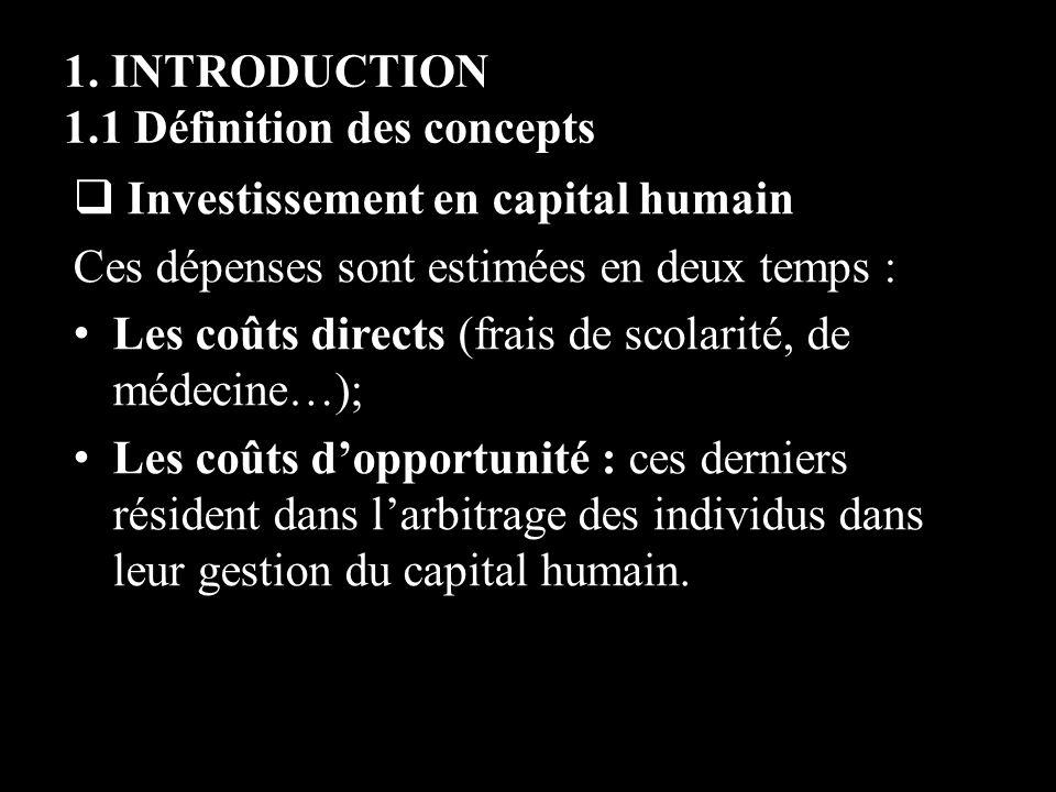 1. INTRODUCTION 1.1 Définition des concepts Investissement en capital humain Ces dépenses sont estimées en deux temps : Les coûts directs (frais de sc