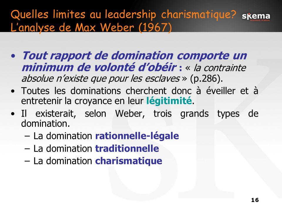 15 2. La théorie du leadership charismatique La théorie du leadership charismatique est la théorie selon laquelle les subordonnés, face à certains com
