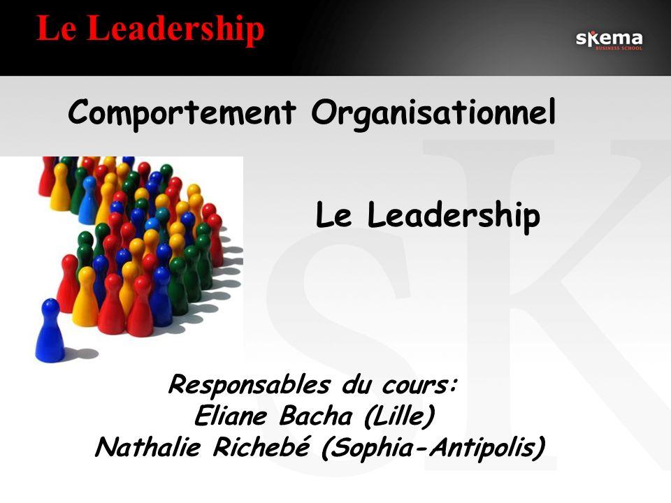 2 Comportement Organisationnel Le Leadership Responsables du cours: Eliane Bacha (Lille) Nathalie Richebé (Sophia-Antipolis) Le Leadership