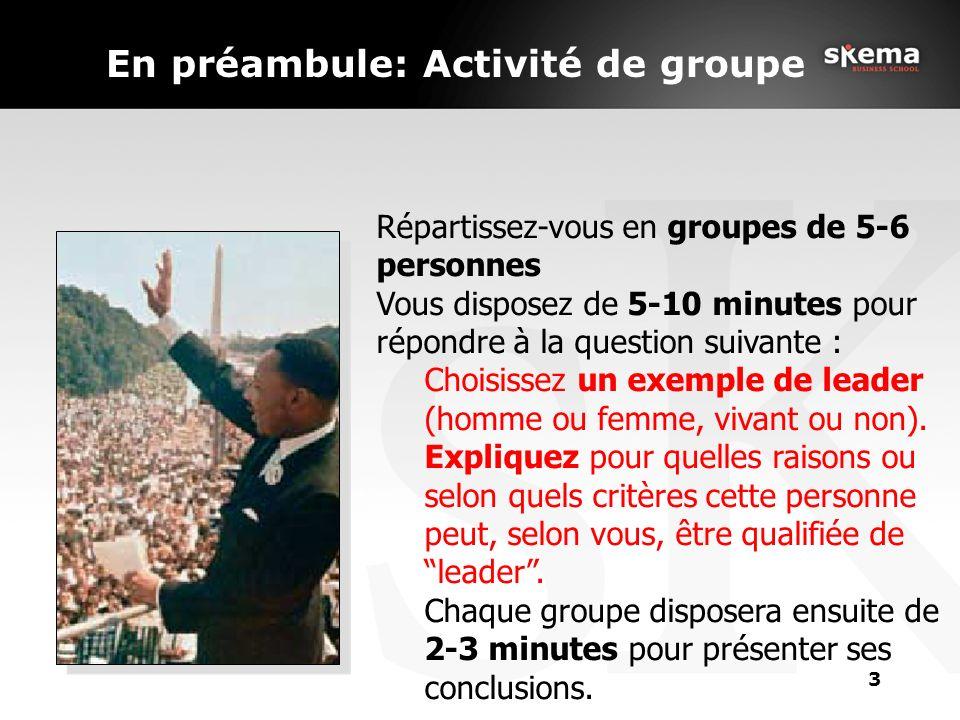 3 En préambule: Activité de groupe Répartissez-vous en groupes de 5-6 personnes Vous disposez de 5-10 minutes pour répondre à la question suivante : Choisissez un exemple de leader (homme ou femme, vivant ou non).