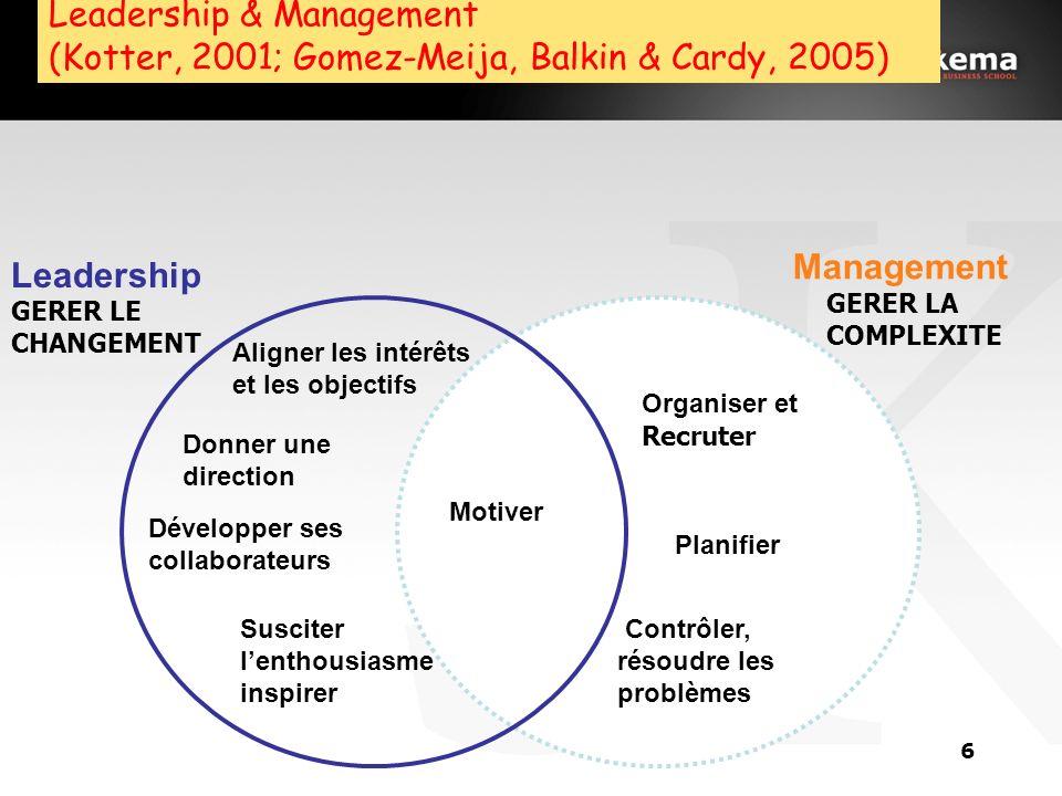 5 Introduction: Leadership et Management Définition du leadership: La capacité dorienter et de mobiliser durablement un groupe dindividus vers laccomp
