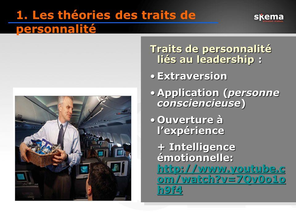 Traits de personnalité liés au leadership : ExtraversionExtraversion Application (personne consciencieuse)Application (personne consciencieuse) Ouverture à lexpérienceOuverture à lexpérience + Intelligence émotionnelle: http://www.youtube.c om/watch?v=7Qv0o1o h9f4 http://www.youtube.c om/watch?v=7Qv0o1o h9f4 http://www.youtube.c om/watch?v=7Qv0o1o h9f4 Traits de personnalité liés au leadership : ExtraversionExtraversion Application (personne consciencieuse)Application (personne consciencieuse) Ouverture à lexpérienceOuverture à lexpérience + Intelligence émotionnelle: http://www.youtube.c om/watch?v=7Qv0o1o h9f4 http://www.youtube.c om/watch?v=7Qv0o1o h9f4 http://www.youtube.c om/watch?v=7Qv0o1o h9f4 1.
