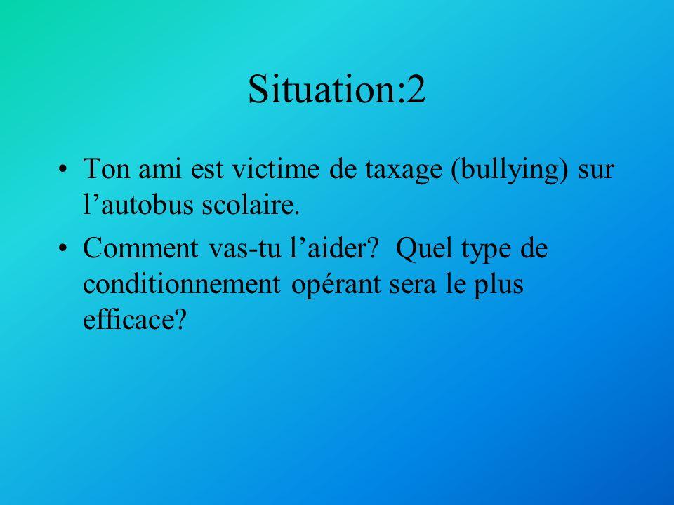 Situation: 1 Tu es un psychologue behavioriste, tu reçois dans ta clinique un patient qui veut arrêter de consommer de la drogue.