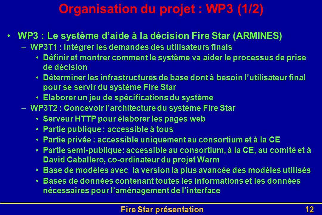Fire Star présentation12 Organisation du projet : WP3 (1/2) WP3 : Le système daide à la décision Fire Star (ARMINES) –WP3T1 : Intégrer les demandes de