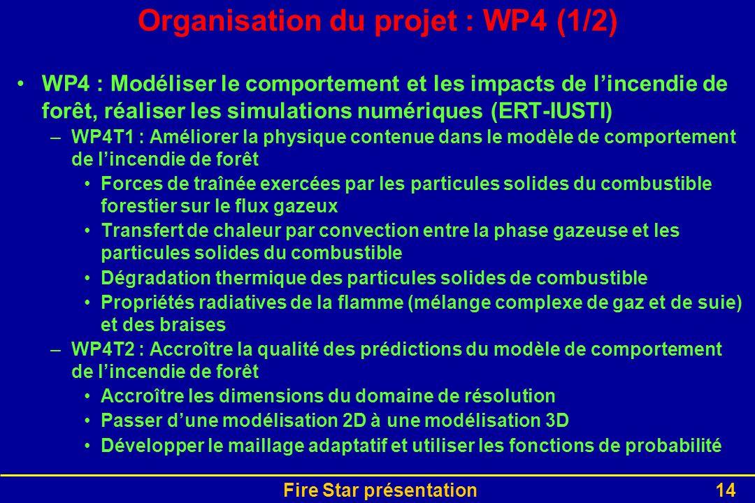 Fire Star présentation14 Organisation du projet : WP4 (1/2) WP4 : Modéliser le comportement et les impacts de lincendie de forêt, réaliser les simulat