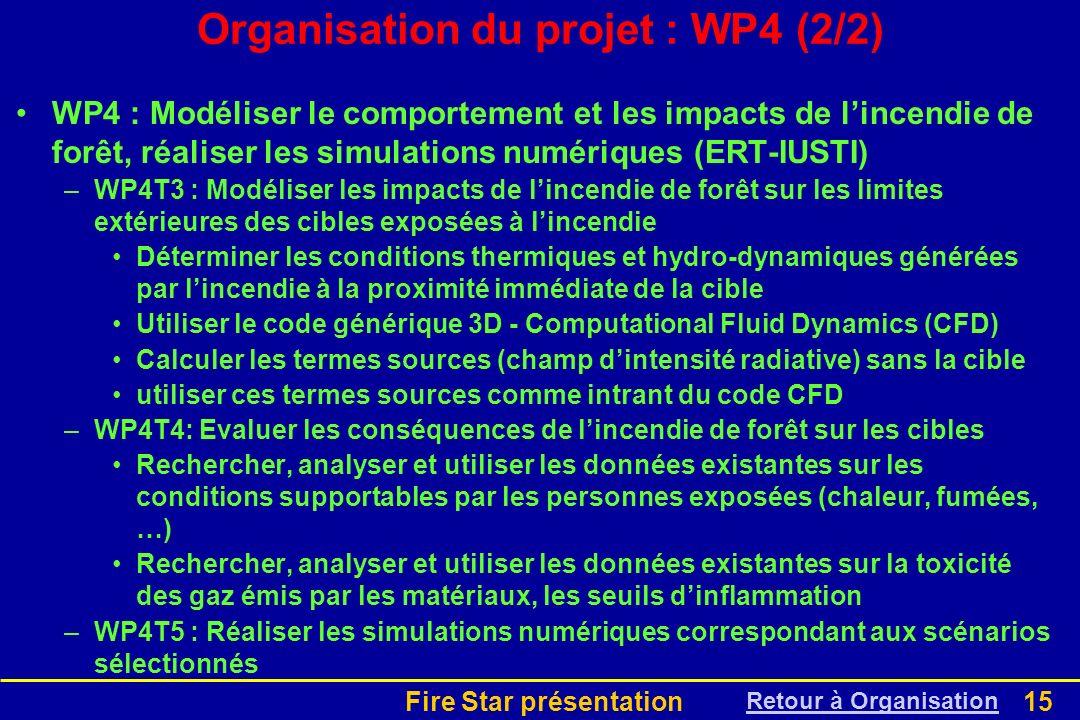 Fire Star présentation15 Organisation du projet : WP4 (2/2) WP4 : Modéliser le comportement et les impacts de lincendie de forêt, réaliser les simulat