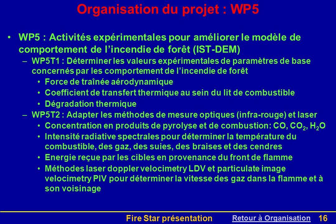 Fire Star présentation16 Organisation du projet : WP5 WP5 : Activités expérimentales pour améliorer le modèle de comportement de lincendie de forêt (I