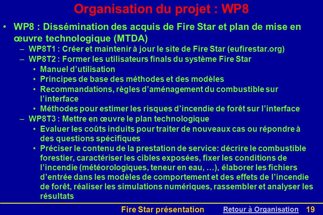 Fire Star présentation19 WP8 : Dissémination des acquis de Fire Star et plan de mise en œuvre technologique (MTDA) –WP8T1 : Créer et maintenir à jour