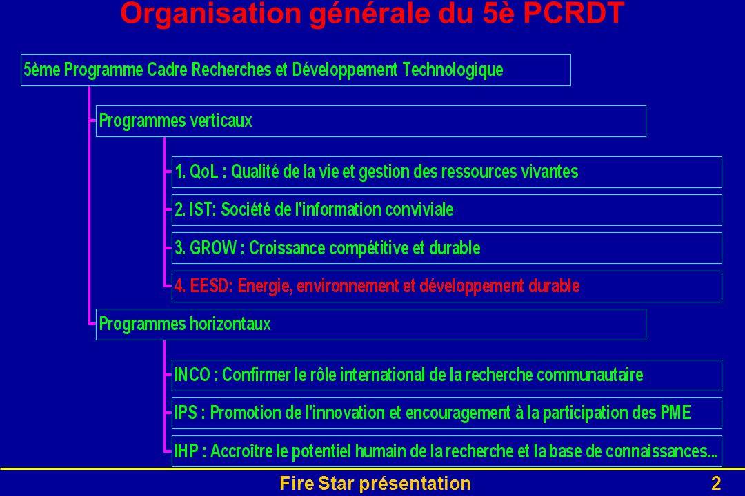 Fire Star présentation2 Organisation générale du 5è PCRDT