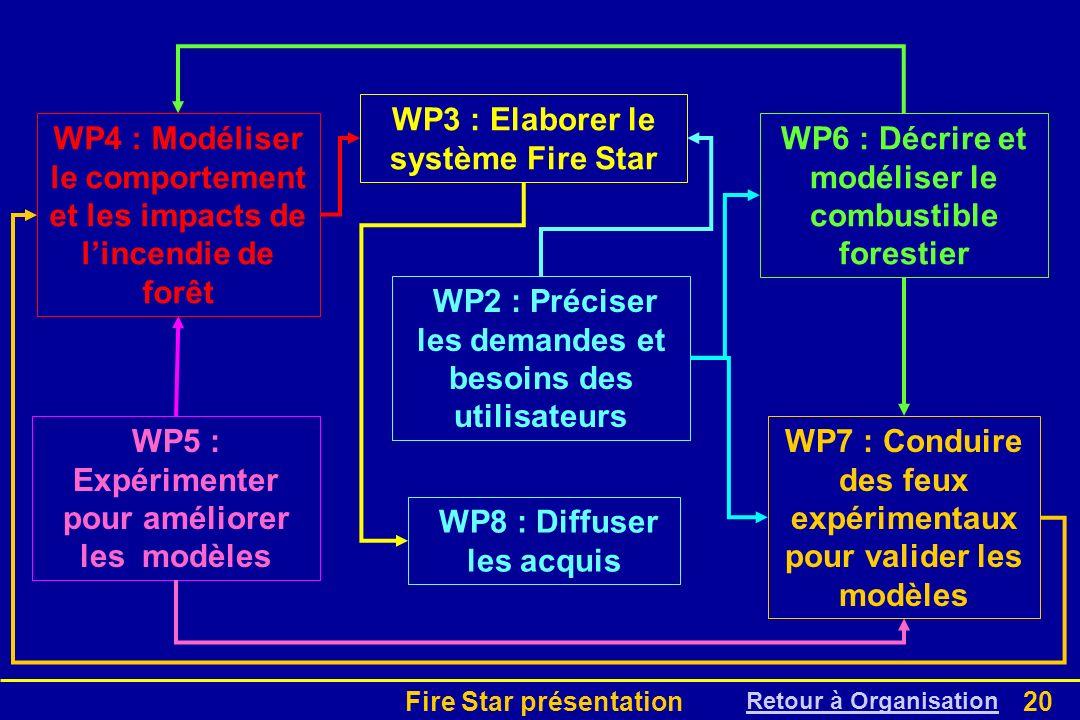 Fire Star présentation20 WP2 : Préciser les demandes et besoins des utilisateurs WP6 : Décrire et modéliser le combustible forestier WP5 : Expérimente