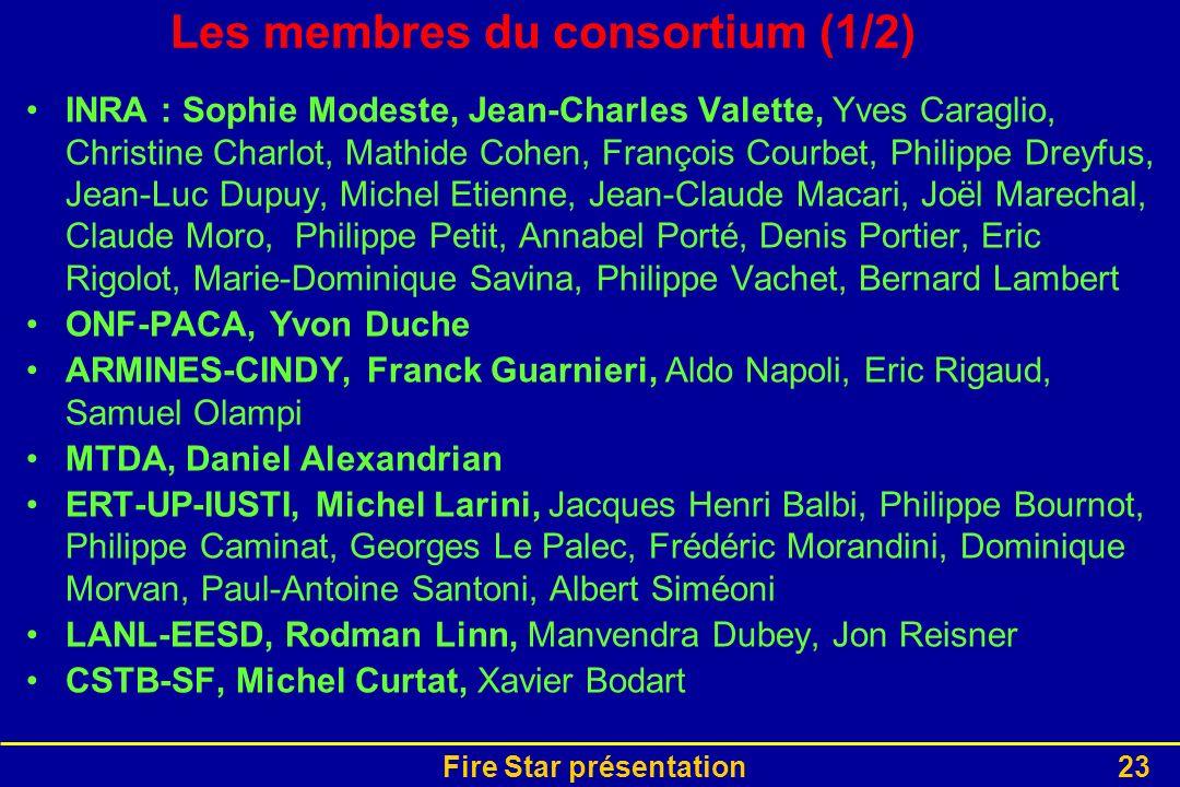 Fire Star présentation23 Les membres du consortium (1/2) INRA : Sophie Modeste, Jean-Charles Valette, Yves Caraglio, Christine Charlot, Mathide Cohen,