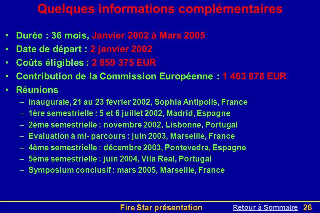 Fire Star présentation26 Quelques informations complémentaires Durée : 36 mois, Janvier 2002 à Mars 2005 Date de départ : 2 janvier 2002 Coûts éligibl