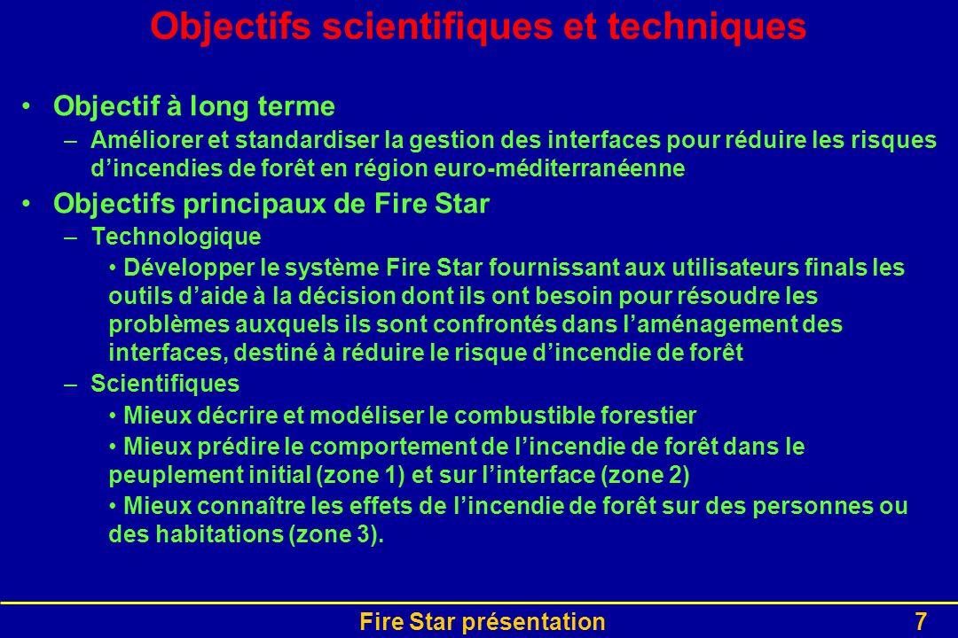 Fire Star présentation7 Objectifs scientifiques et techniques Objectif à long terme –Améliorer et standardiser la gestion des interfaces pour réduire