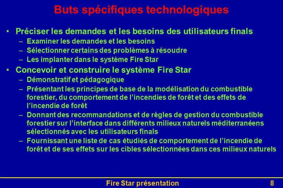 Fire Star présentation8 Buts spécifiques technologiques Préciser les demandes et les besoins des utilisateurs finals –Examiner les demandes et les bes