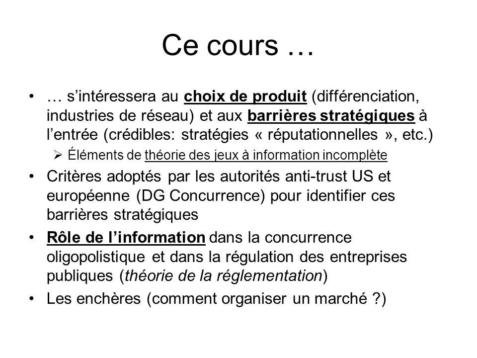 Ce cours … … sintéressera au choix de produit (différenciation, industries de réseau) et aux barrières stratégiques à lentrée (crédibles: stratégies «