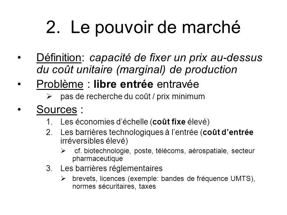 2. Le pouvoir de marché Définition: capacité de fixer un prix au-dessus du coût unitaire (marginal) de production Problème : libre entrée entravée pas