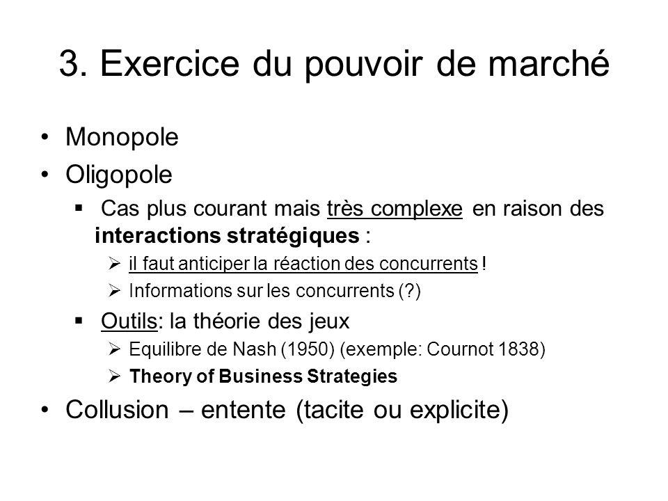 3. Exercice du pouvoir de marché Monopole Oligopole Cas plus courant mais très complexe en raison des interactions stratégiques : il faut anticiper la