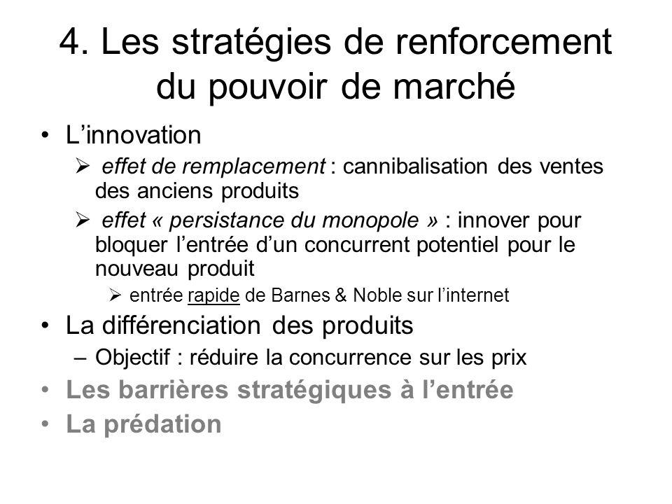 4. Les stratégies de renforcement du pouvoir de marché Linnovation effet de remplacement : cannibalisation des ventes des anciens produits effet « per