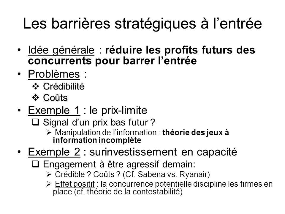 Les barrières stratégiques à lentrée Idée générale : réduire les profits futurs des concurrents pour barrer lentrée Problèmes : Crédibilité Coûts Exem