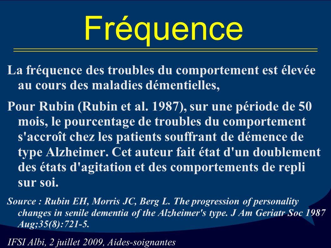 IFSI Albi, 2 juillet 2009, Aides-soignantes Fréquence La fréquence des troubles du comportement est élevée au cours des maladies démentielles, Pour Rubin (Rubin et al.