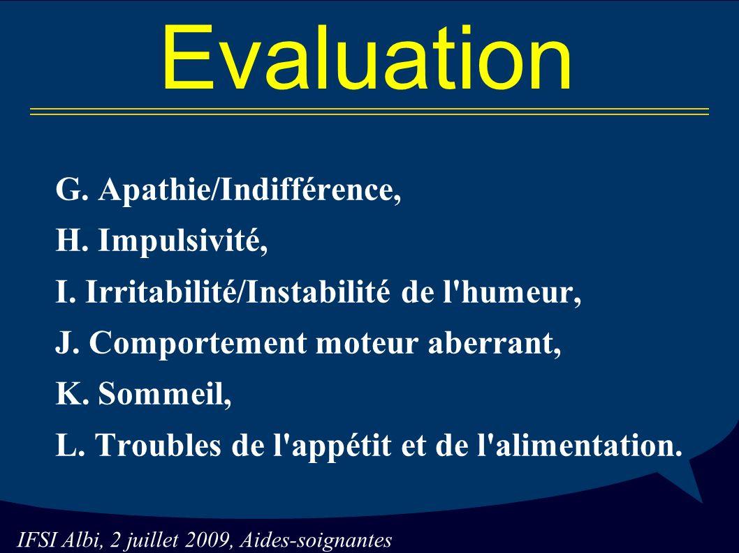 IFSI Albi, 2 juillet 2009, Aides-soignantes Evaluation G.