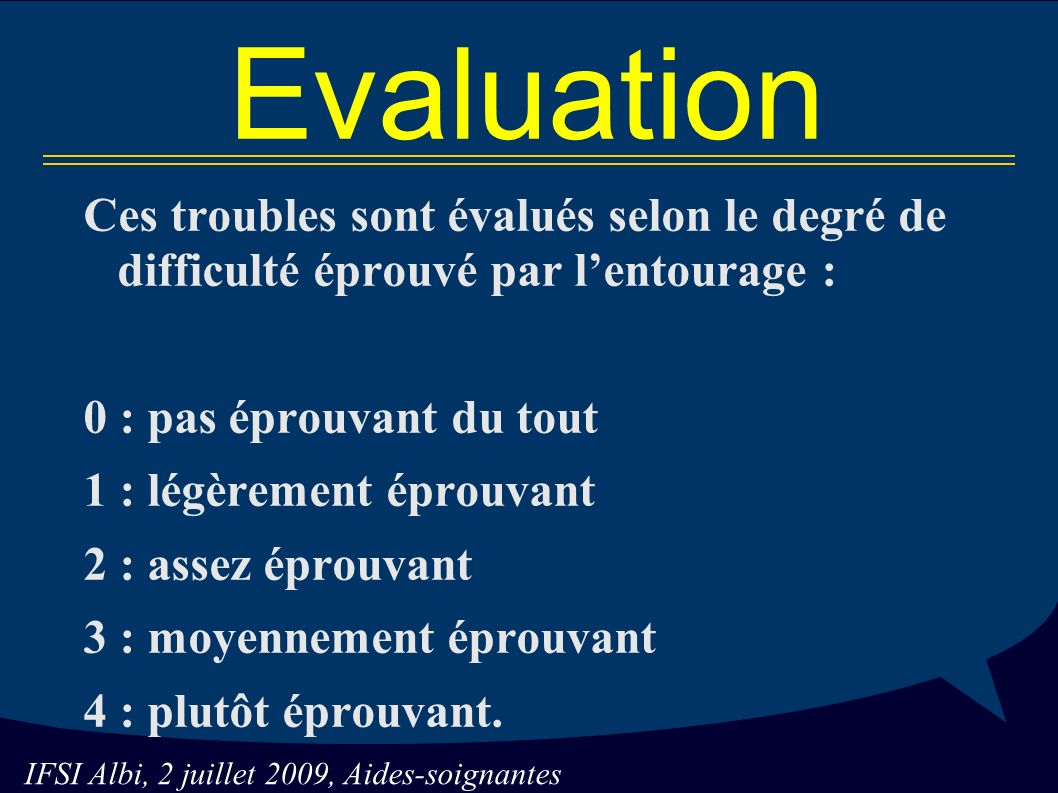IFSI Albi, 2 juillet 2009, Aides-soignantes Evaluation Ces troubles sont évalués selon le degré de difficulté éprouvé par lentourage : 0 : pas éprouvant du tout 1 : légèrement éprouvant 2 : assez éprouvant 3 : moyennement éprouvant 4 : plutôt éprouvant.