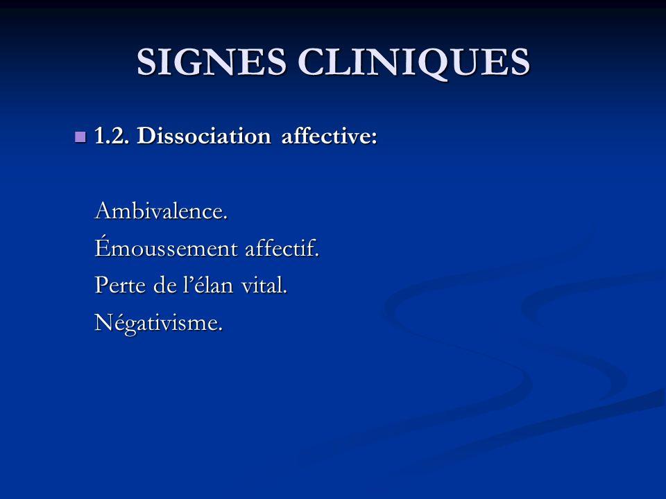 SIGNES CLINIQUES 1.2. Dissociation affective: 1.2. Dissociation affective:Ambivalence. Émoussement affectif. Perte de lélan vital. Négativisme.