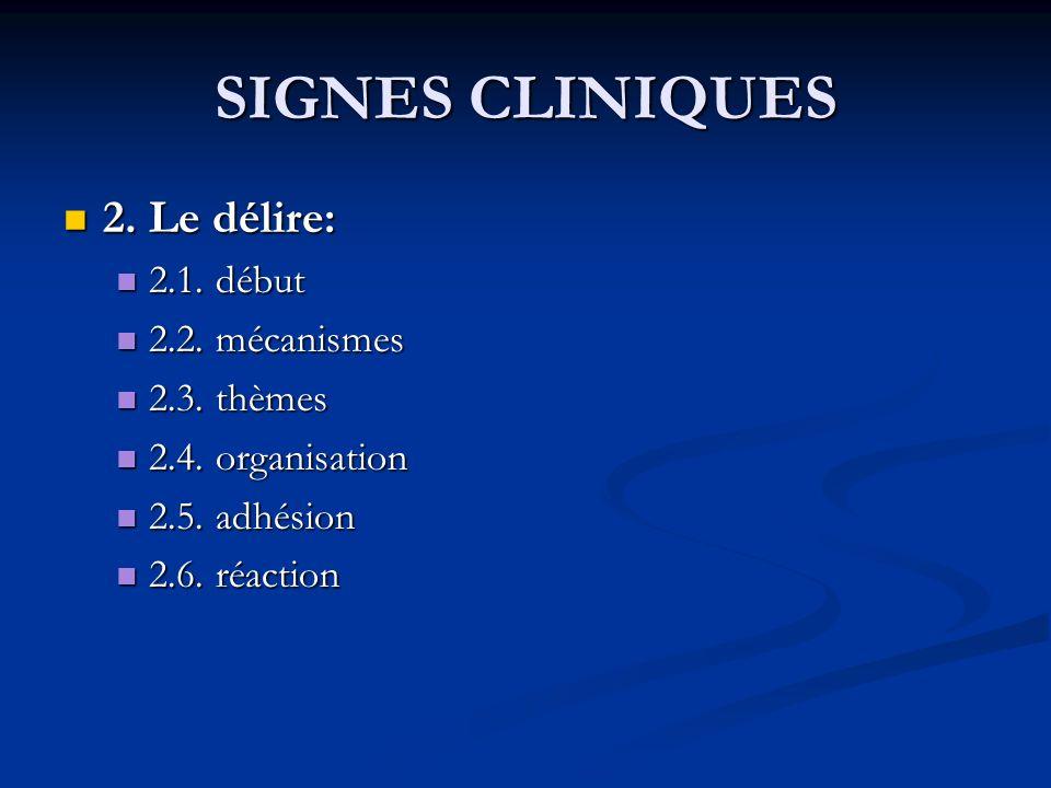 SIGNES CLINIQUES 2. Le délire: 2. Le délire: 2.1. début 2.1. début 2.2. mécanismes 2.2. mécanismes 2.3. thèmes 2.3. thèmes 2.4. organisation 2.4. orga