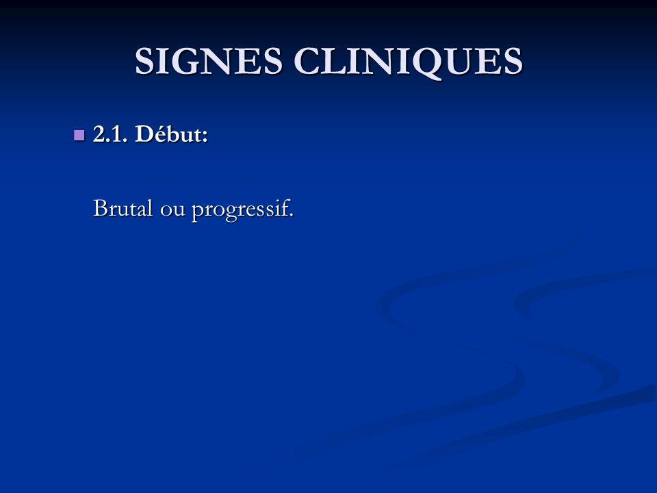 SIGNES CLINIQUES 2.1. Début: 2.1. Début: Brutal ou progressif.