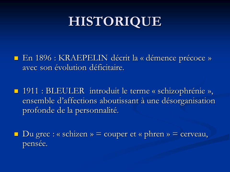 HISTORIQUE En 1896 : KRAEPELIN décrit la « démence précoce » avec son évolution déficitaire. En 1896 : KRAEPELIN décrit la « démence précoce » avec so