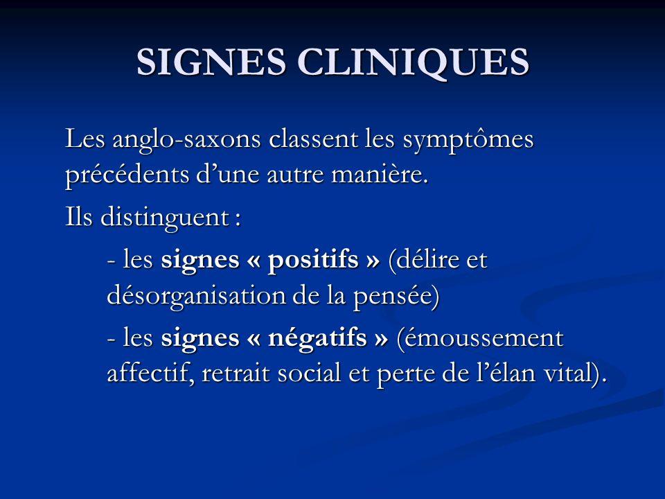 SIGNES CLINIQUES Les anglo-saxons classent les symptômes précédents dune autre manière. Ils distinguent : - les signes « positifs » (délire et désorga