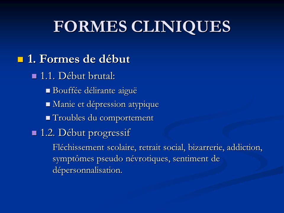 FORMES CLINIQUES 1.Formes de début 1. Formes de début 1.1.